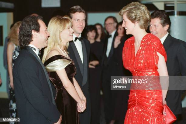 The Princess of Wales Princess Diana attends the Premiere of When Harry met Sally in London's West End The Princess wearing a Bruce Oldfield red...