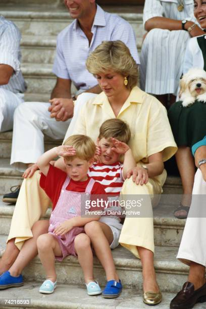 The Princess of Wales spends a holiday with her family and the Spanish royals at Marivent Palace Majorca August 1987