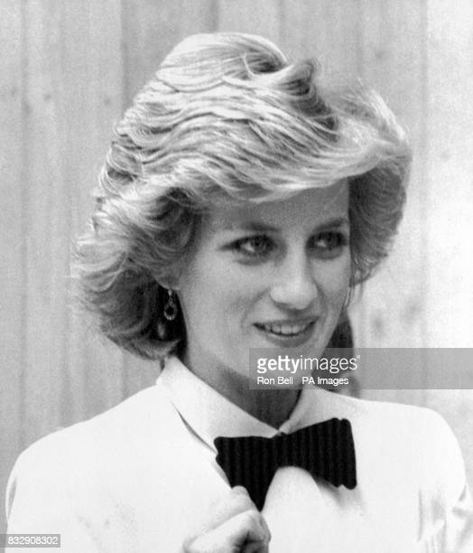 The Princess of Wales sporting a black velvet bow tie during her sightseeing of Florence The Prince and Princess visited Florence's Cathedral before...