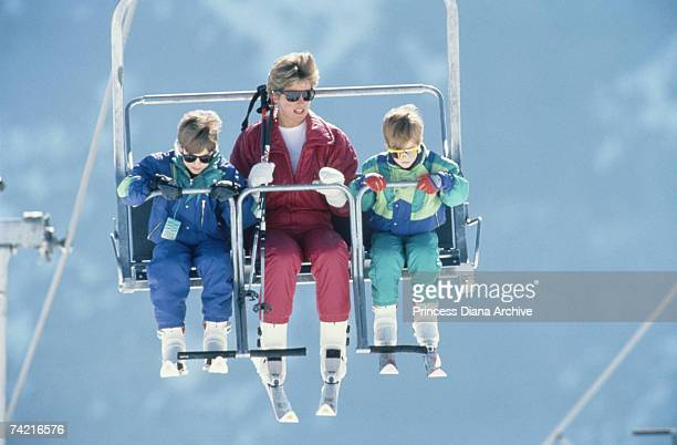The Princess of Wales takes a family skiing holiday in Lech Austria with her sons William and Harry 9th April 1991