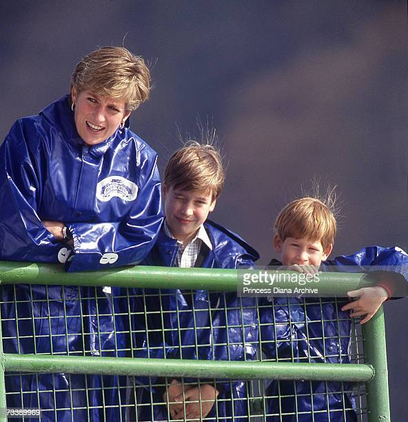 The Princess of Wales takes her sons William and Harry out on the boat 'Maid of the Mist' at Niagara Falls October 1991