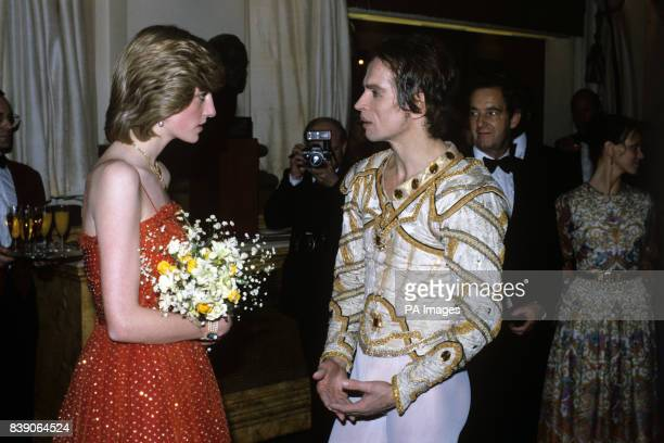 The Princess of Wales talking to Russian emigre ballet star Rudolf Nureyev