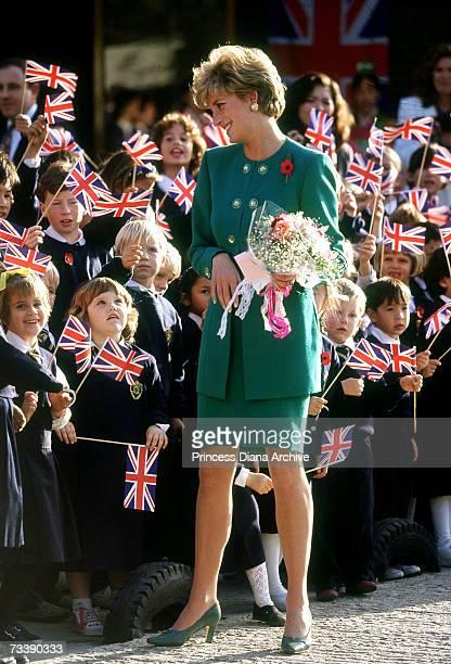 The Princess of Wales visiting a British school in Seoul Korea November 1992