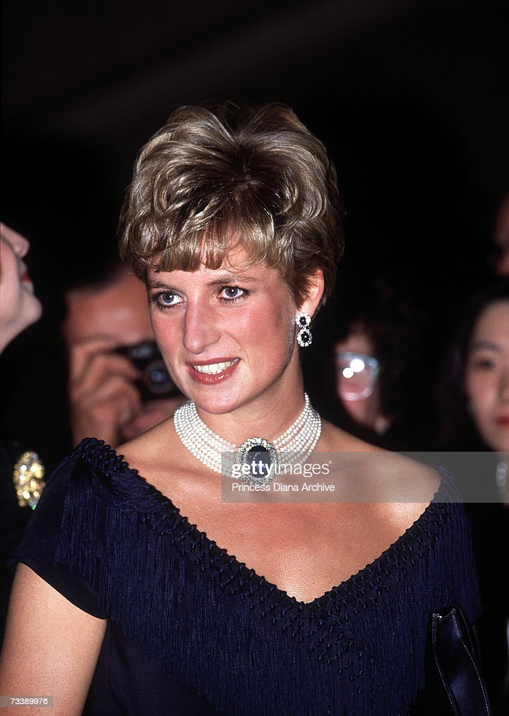 The Princess of Wales visits the National Arts Centre in Ottawa, October 1991. She is wearing a pearl and sapphire choker.