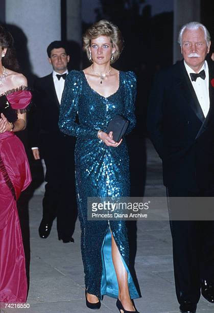 The Princess of Wales wears a blue Catherine Walker gown to a charity ball at Osterley House Middlesex May 1989