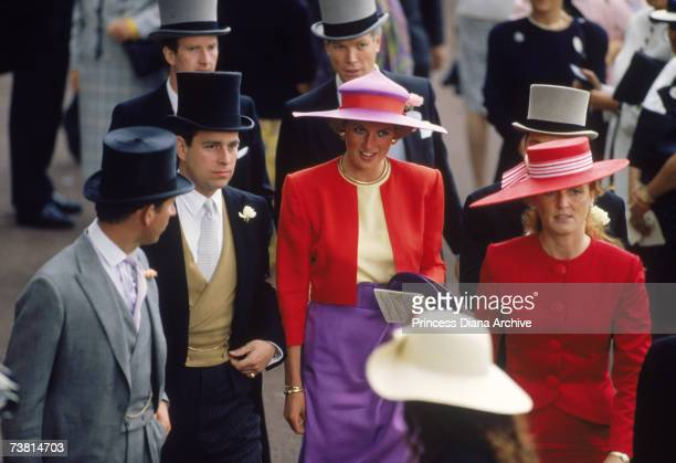 The Princess of Wales wears a Catherine Walker suit and Philip Somerville hat to the first day of Royal Ascot June 1990 She is in the company of...