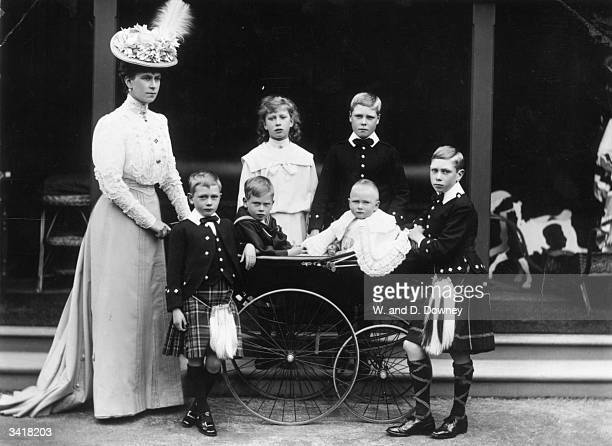 The Princess of Wales with her family at Abergeldie Castle Aberdeenshire The children are Princess Mary the Princess Royal Prince Edward Prince Henry...