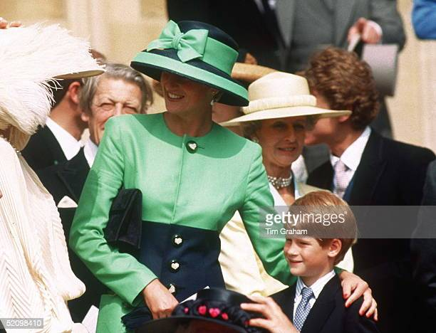 The Princess Of Wales With Her Son Prince Henry At The Wedding Of Helen Windsor To Tim Taylor