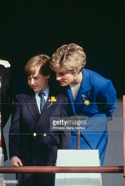 The Princess of Wales with her son Prince William upon his first official engagement in Cardiff March 1991