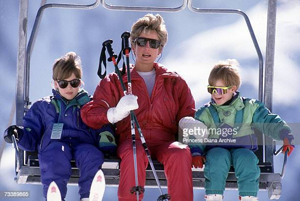 The Princess of Wales with her sons William and Harry on the chair lift during a skiing holiday in Lech Austria April 1991