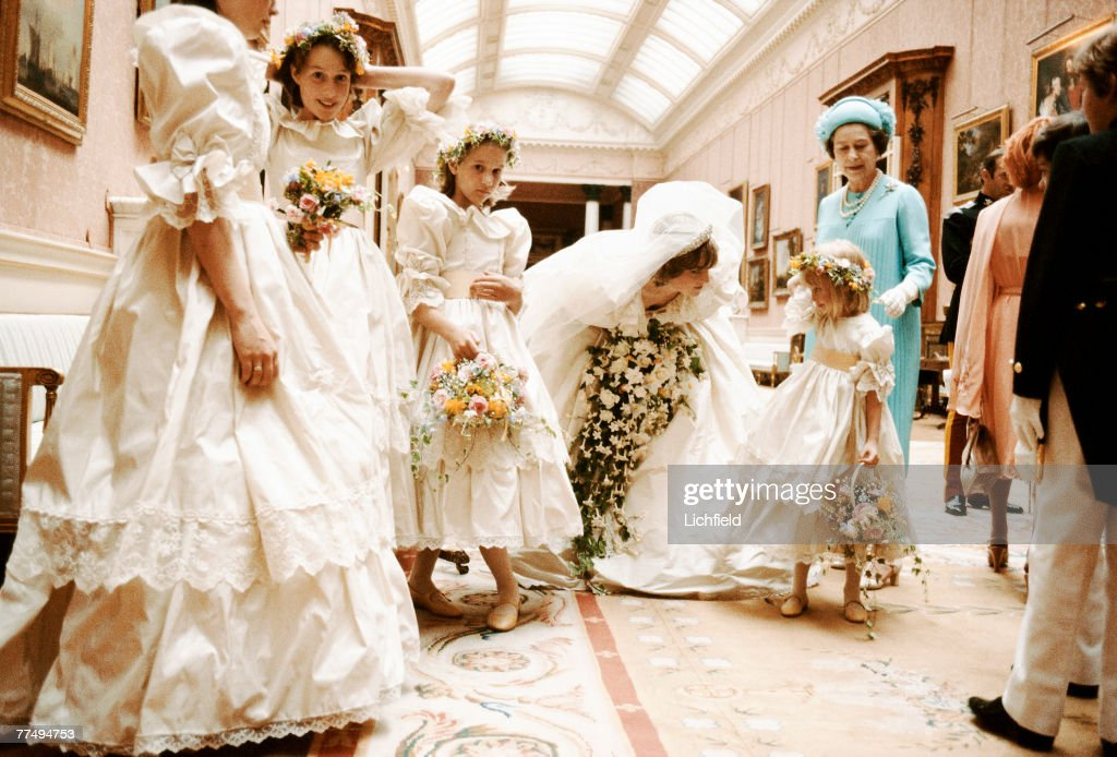 HRH The Princess of Wales with HM The Queen and her bridesmaids behind the scenes at Buckingham Palace on 29th July 1981. Diana is comforting Miss Clementine Hambro. (Bridesmaids left to right) Miss India Hicks, Miss Sarah-Jane Gaselee, Miss Clementine Hambro. (Photo by Lichfield/Getty Images).