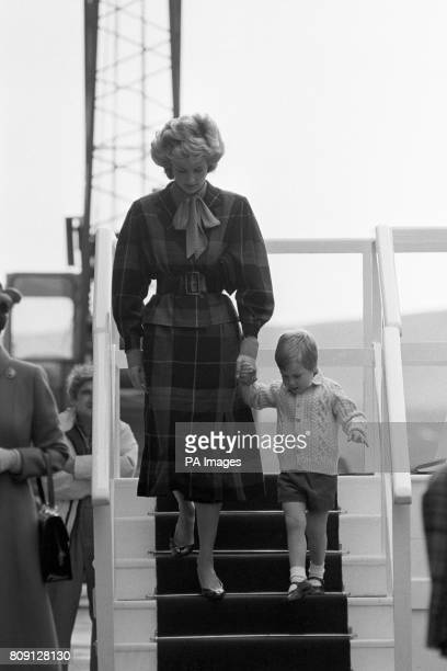 The Princess of Wales with Prince William coming ashore from the Royal Yacht Britannia at Aberdeen Harbour