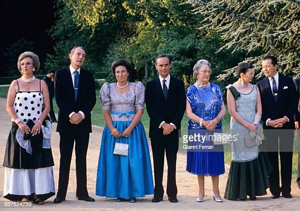 The Princess Pilar her husband Luis Gomez Acebo the Princess Margarita her husband Carlos Zurita Beatriz of Orleans Ana of Orleans and her husband...