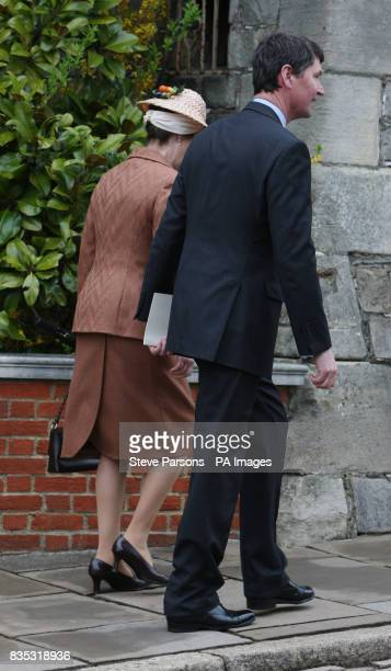 The Princess Royal accompanied by her husband Tim Laurence after the Easter Mattins service at St George's Chapel in the grounds of Windsor Castle...