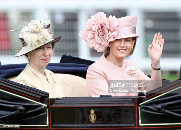 The Princess Royal and Countess of Wessex arrive at Royal Ascot in a horsedrawn carriage for the first day of racing at the new stateoftheart course...