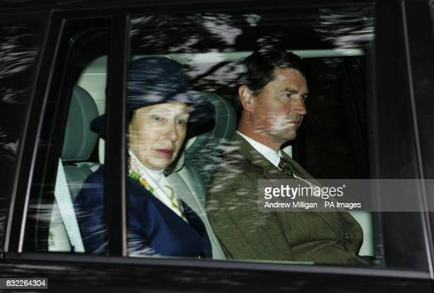 The Princess Royal and her husband Rear Admiral Timothy Laurence leaving Crathie Church Crathie Kirk near to Queen Elizabeth II's Balmoral estate on...