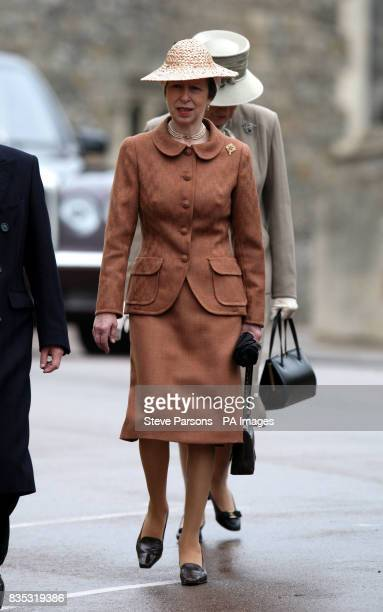 The Princess Royal before the Easter Mattins service at St George's Chapel in the grounds of Windsor Castle Berkshire
