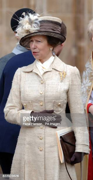 The Princess Royal leaves Westminster Abbey London after a service of celebration to mark the diamond wedding anniversary of Queen Elizabeth II and...