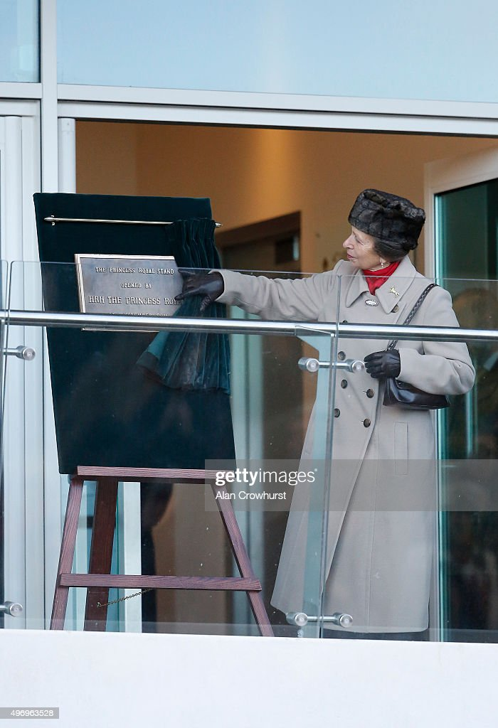 The Princess Royal opens the new grandstand named after her at Cheltenham racecourse on November 13 2015 in Cheltenham England