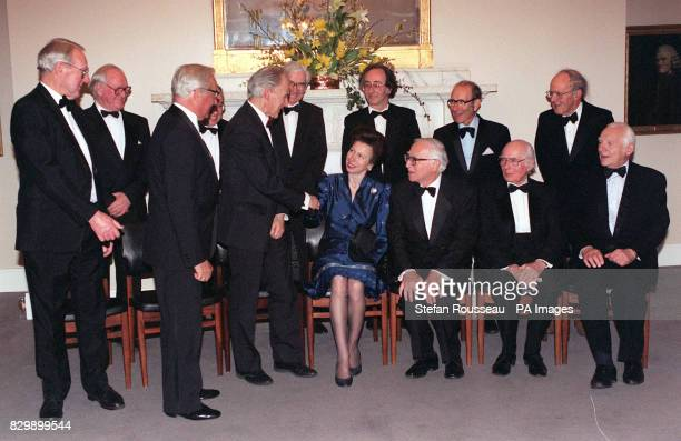 The Princess Royal speaks with guests attending the Nobel Laureates dinner in honour of Sir Harold Kato winner of the 1996 Nobel Prize for Chemistry...