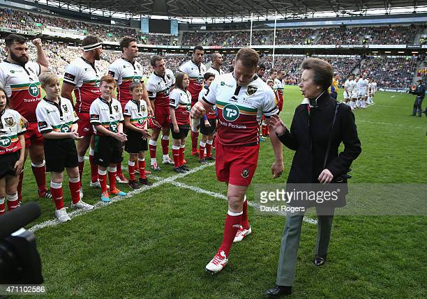 The Princess Royal talks to Northampton captain Dylan Hartley prior during the Aviva Premiership match between Northampton Saints and Saracens at...