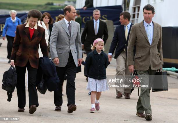 The Princess Royal the Earl of Wessex with his daughter Louise and the Princess Royal's husband Vice Admiral Timothy Laurence followed by Autumn...