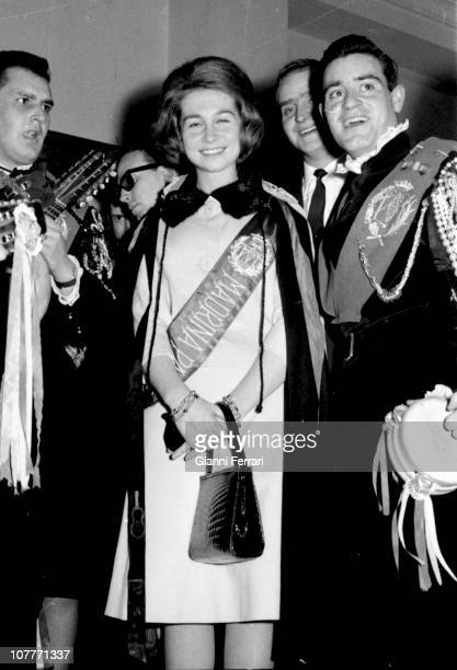 The princess Sofia of Greece at a party surrounded by the tuna traditional music group formed by university students Madrid Spain