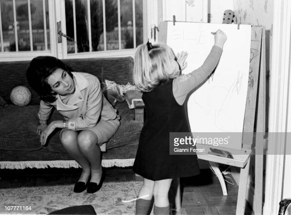 The princess Sofia of Greece in the Zarzuela Palace with her daughter Cristina Madrid Spain