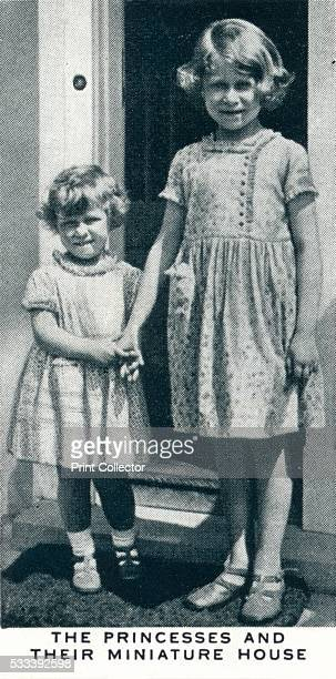 The Princesses and their Miniature House' 1937 Princess Elizabeth and Princess Margaret in front of the miniature cottage in Windsor Great Park The...