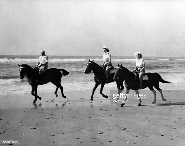 The Princesses enjoyed an offduty break from the royal tour of South Africa when they went riding on the golden sands of Bonza Beach East London...