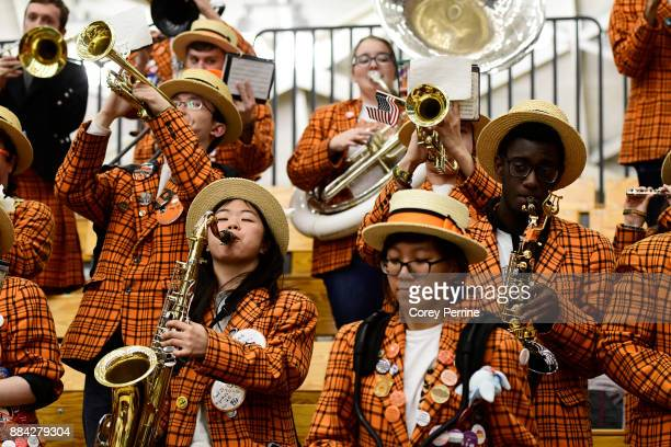 The Princeton Tigers band members play before the game against the Lehigh Mountain Hawks at L Stockwell Jadwin Gymnasium on November 29 2017 in...