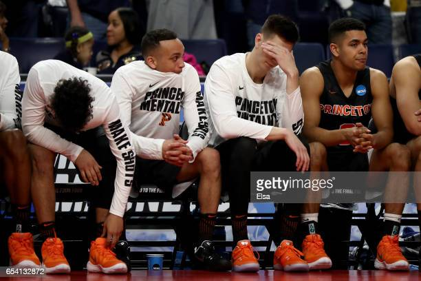 The Princeton Tigers bench reacts after a play in the second half against the Notre Dame Fighting Irish during the first round of the 2017 NCAA Men's...