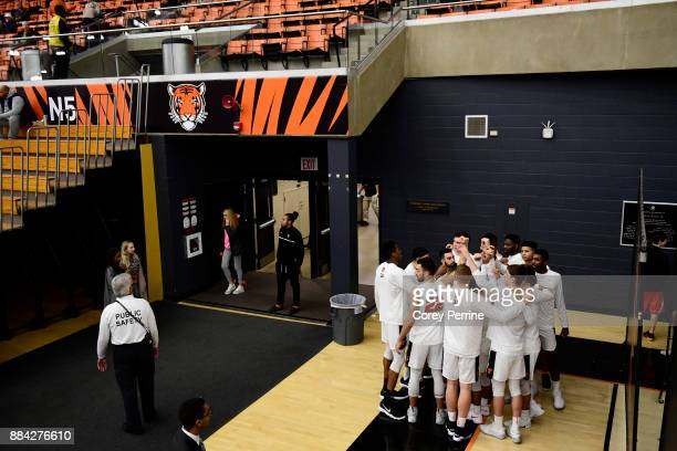The Princeton Tigers huddle before the game against the Lehigh Mountain Hawks at L Stockwell Jadwin Gymnasium on November 29 2017 in Princeton New...