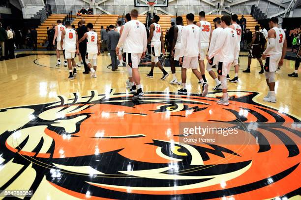 The Princeton Tigers men's basketball team walks off the court after a loss to the Lehigh Mountain Hawks at L Stockwell Jadwin Gymnasium on November...