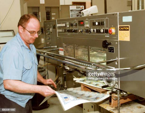 The printing machine prints out the sheets of the approved stamp of the Queen before its record breaking journey from the House of Questa to be first...