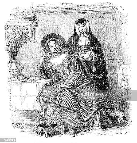 The Prioress and the Wife of Bath From engraving based on characters from Geoffrey Chaucer 's 'The Prioress ' Tale' and 'The Tale of the Wife of...