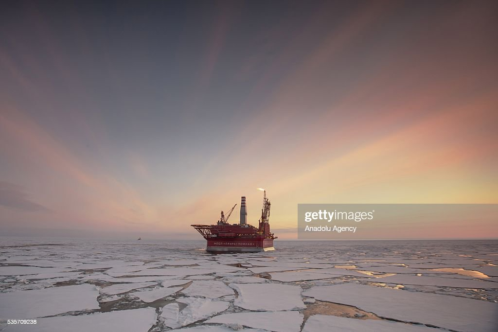The Prirazlomnaya offshore ice-resistant oil-producing platform is seen at Pechora Sea, Russia on May 8, 2016. Prirazlomnaya is the world's first operational Arctic rig that process oil drilling, production and storage, end product processing and loading.