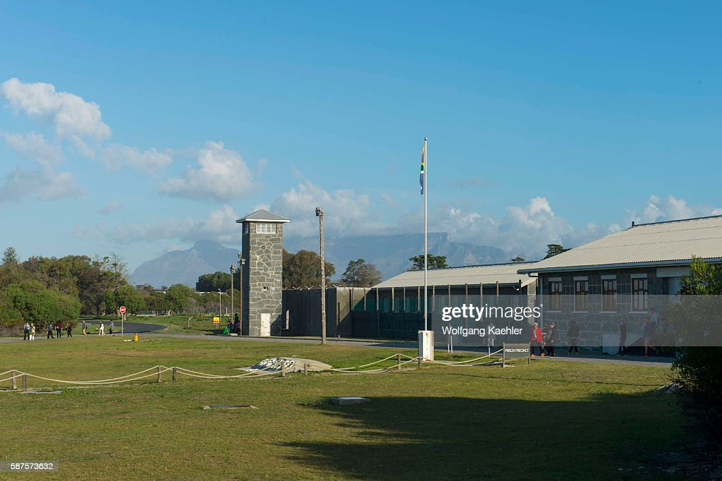 The prison facilities with watch tower on Robben Island which is an island in Table Bay 69 km west of the coast of Cape South Africa and has been...