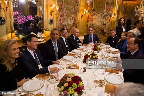 the private dinner of Barack Obama and Francois Hollande at the restaurant l'Ambroisie in Paris on the margins of Cop21 the conference for the climat...