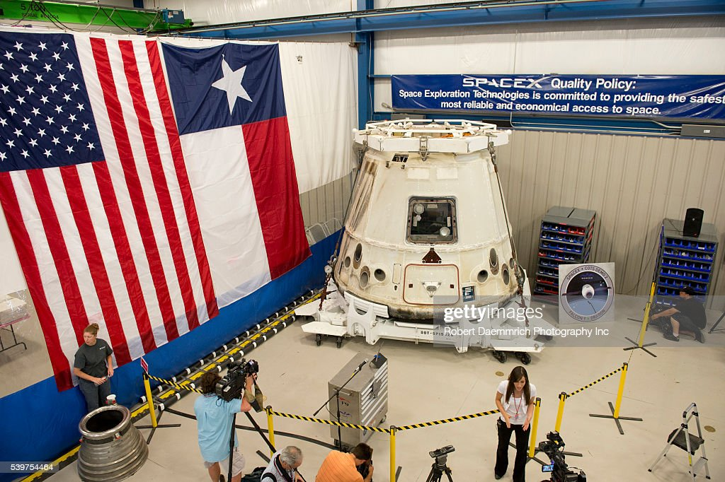 The private Dragon spacecraft that returned to earth May 31st after delivering supplies to the International Space Station sits in a warehouse in...