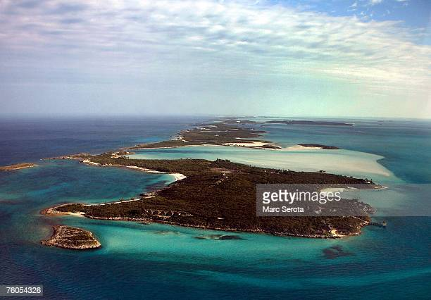 The private island of David Copperfield as show from the air in February 2007 in Musha Cay Bahamas Copperfield who bought the string of four islands...