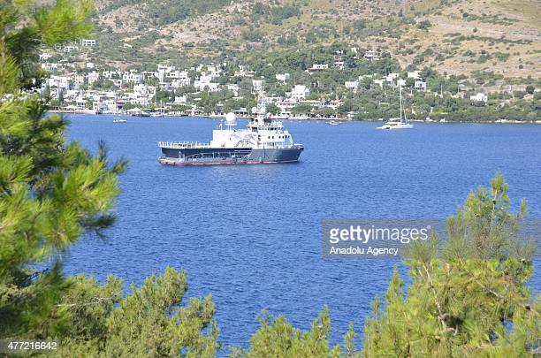 The private luxury yacht of Russian businessman Oleg Deripaska 60 meters 'Sputnik' anchors in Bodrum district of Turkey's southwestern province Mugla...