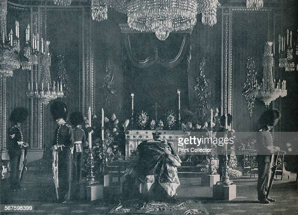 The private lying in state of King Edward VII the catafalque in the Throne Room at Buckingham Palace 1910 From Edward VII His Life and Times Volume...