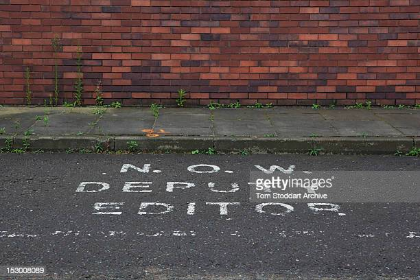 The private parking space for the deputy editor of the News of the World at the former News International base in Wapping East London Media mogul...