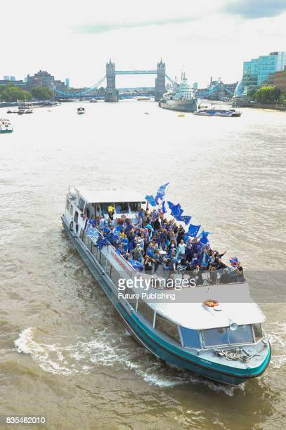 The Pro EU group 'No10 Vigil' on a boat cruise from Tower Bridge to protest against Brexit August 19 2017 in London England PHOTOGRAPH BY Matthew...
