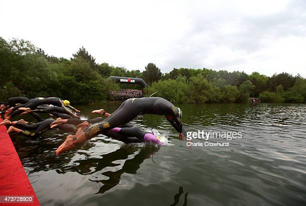 The Pro women dive in to start the race during the Ironman 703 St Polten on May 17 2015 in St Polten Austria
