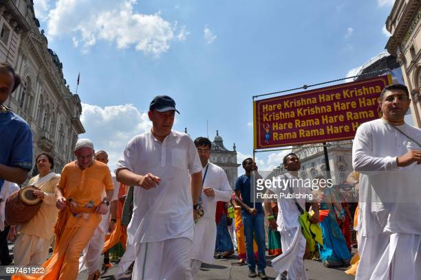 The procession of the Hare Krishna Rathayatra chariots through London to Trafalgar Square on June 18 2017 in London England PHOTOGRAPH BY Matthew...