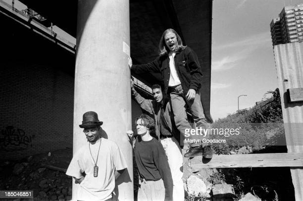 The Prodigy group portrait by the Westway in London including band members Liam Howlett Keith Flint Maxim and Leroy Thornhill United Kingdom 1991