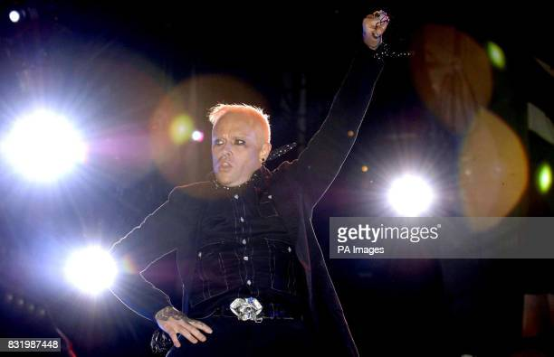 The Prodigy perform live onstage during the annual Isle of Wight festival at Seaclose Park in Newport Isle of Wight