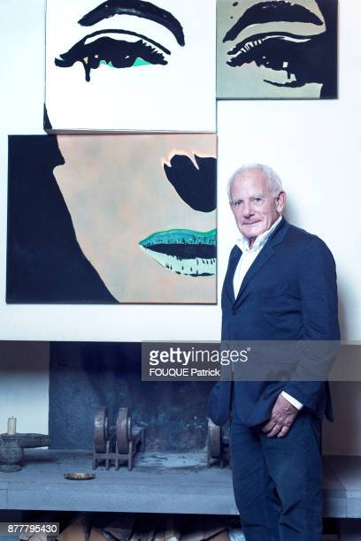 the producer Marin Karmitz is photographed for Paris Match at home in Paris in front of a painting of Martial Raysse on September 28 2017